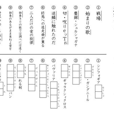 【これやったやつだ!】シンフォギア漢字テストを作りました♪